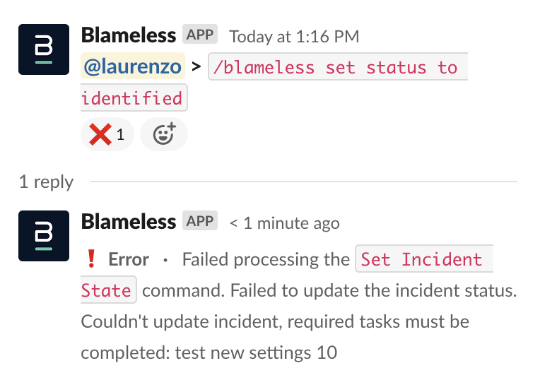 Incident Details page - Required Task Transition Error Bot